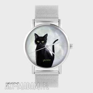 Prezent Zegarek, bransoletka - Czarny kot metalowy, zegarek, bransoletka, metalowy