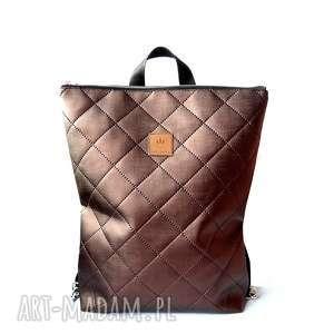 plecak z pikowanej ekoskóry /brąz, plecakdamski, ręcznieriobionyplecak