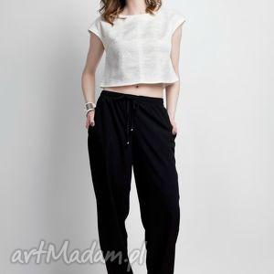 Zwiewne spodnie, SD105 czarny, pumpy, luźne, czarne, kieszenie, wizane