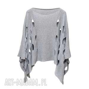 narzutka modernity szary, ponczo, narzutka, wdzianko, sweter, bawełna