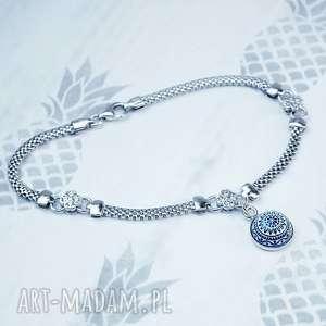 srebrna bransoletka z zawieszką i cyrkoniami - czterolistne koniczynki mozaika