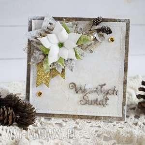 Świąteczna ze złotem - ,boże-narodzenie,kartka-świąteczna,złoto,brokat,