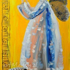 anioł z dudą, obraz, płótno, akryl, marina czajkowska, prezent, anioł