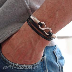bransoletka infinity - man, infinity, skóra, rzemienie męska