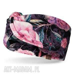 opaska na głowę z węzłem w różowe kwiaty, bawełna, dresowa, dziewczęca