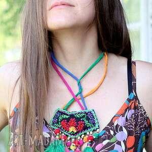 naszyjnik handmade etniczny sznurkowy, etno, boho, haft, orient, naszyjnik, sznurek