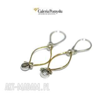 kolczyki z kwarcem, kwarc, srebro, 925, złocone, wiszące, stylowe, wyjątkowy prezent