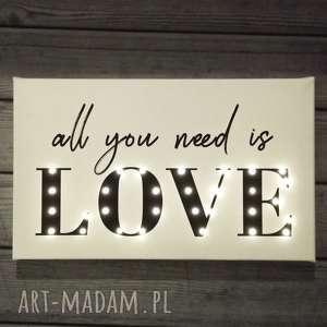 ręcznie zrobione dekoracje świecący obraz led all you need is love prezent roicznica ślub oświetlenie