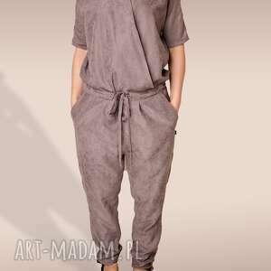ubrania szary kombinezon z eko zamszu, kombinezon, eko, zamsz, wiązany, oversize
