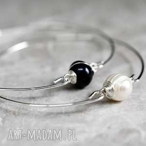 Bransoletki z perłą słodkowodną dwupak 2 szt, perła, dmuchawiec, biała, kolor, srebro