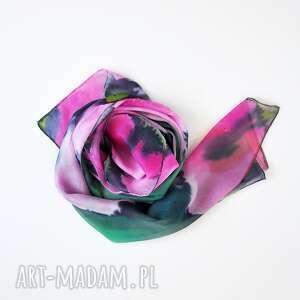 jedwabny malowany szal - różowe kwiaty, szmaragdowy szal, jedwabny, zielony