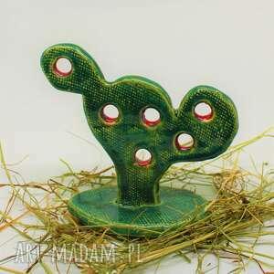 figurka kaktus-opuncja ręcznie robiona handmade, kaktus, ceramiki, rękodzieło