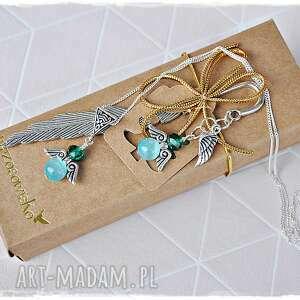 zestaw prezentowy - naszyjnik i zakładka anioły, zakładka, naszyjnik, prezent