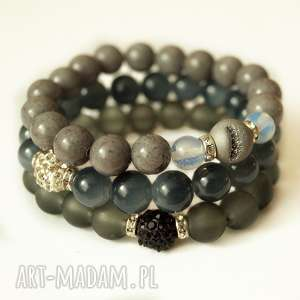 Set graphite, grey, jades&zircons, opal, jadeit, shaballa, cyrkonie, druza
