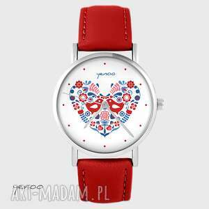 ręcznie wykonane zegarki zegarek - ptaszki folkowe czerwony, skórzany