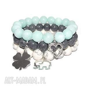 komplet 3 bransoletek słoń koniczynka serce, srebro, kamienie, charms, modne, glamour