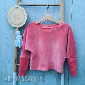 różowa bluzka nati welur, dla dziewczynki, polska marka, welurowa