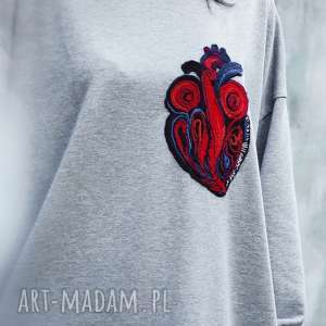 bluzy z sercem, serce, dzianina, filcowana tuniki