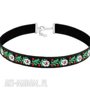 naszyjniki dwustronny choker w kwiatki - folk, hafty, kwiaty, aksamit, choker