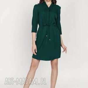 sukienki sukienka ze szczypankami, suk149, butelkowa zieleń, sznureczek