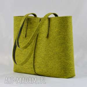 ręcznie wykonane na ramię duża limonkowa torebka z filcu - minimalistyczna