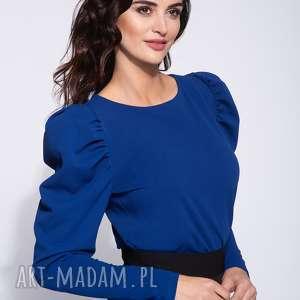 Niebieska bluzka damska z bufkami, jednolita, elegancka, ozdobna