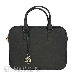 manzana torba na laptopa biznes styl czarna eko zamsz dużego 17,3 cale