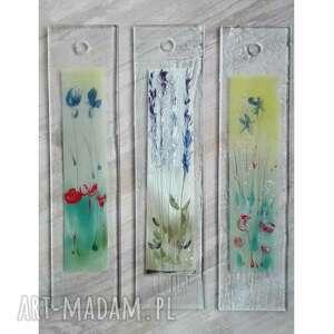 szkło zestaw 3szt szklanych obrazków polne kwiatki, fusing, malowane ręcznie