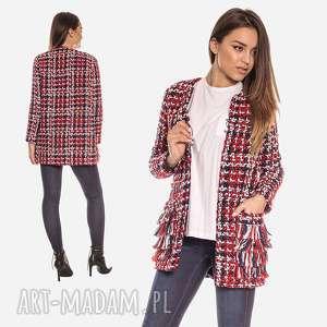 bien fashion kolorowa kurtka damska z frędzelkami na kieszeniach xxl, elegancka