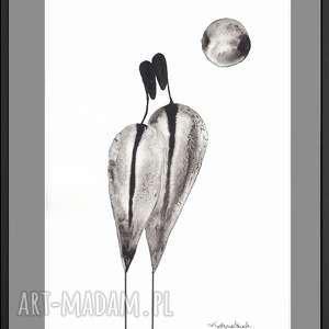 grafika czarno-biała na papierze o grubej fakturze, elegancki minimalizm, cykl