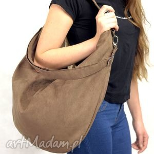 torebki brązowa torba w kształcie worka z eko zamszu, torba, torebka, worek
