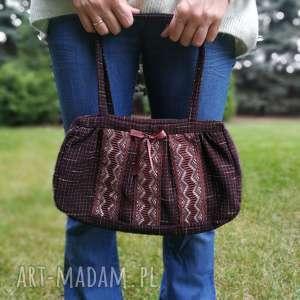 hand-made na ramię torebka damska retro koronka brązowa