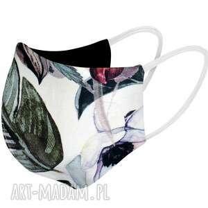 maseczka bawełniana na twarz profilowana biała w liście i kwiaty