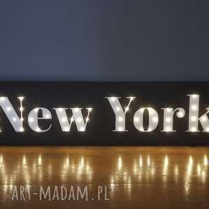 dom świecący napis new york obraz led styl minimalistyczny loft lampka dekoracja