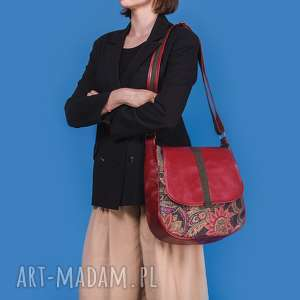 Sashka - torebka na ramię czerwień, zieleń i kwiaty incat