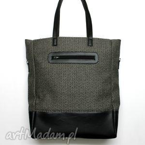 shopper bag - tkanina w jodełkę i skóra czarna - elegancka, nowoczesna