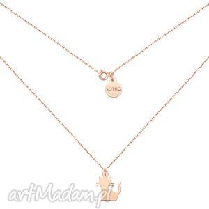 Naszyjnik z kotkiem różowgo złota naszyjniki sotho modny
