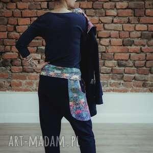 ręczne wykonanie spodnie dresowe damskie mosaic - baggy granat