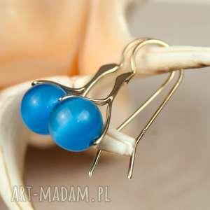 Prezent Pozłacane kolczyki z niebieskim kocim okiem a584, kolczyki-srebrne