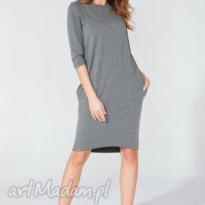 tessita sukienka midi z kieszeniami na biodrach t105 kolor szary - tessita, elegancka