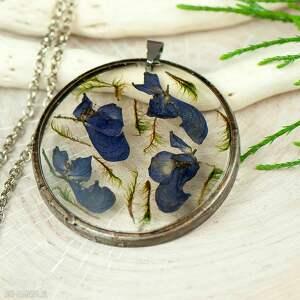 naszyjnik z suszonymi kwiatami w cynowej oprawie z343 - zatopione kwiaty, biżuteria z