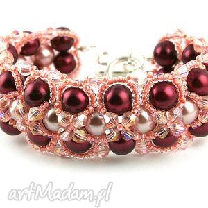 bransoletka z pereł i kryształków swarovski, perły, kryształki, szkło