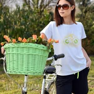 tiszert biały malowany cytrynowy rower, t shirt malowany, marynarka dresowa