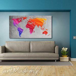 obraz mapa świata -dms6 - 120x70cm na płótnie, obraz, tęczowe, kolory, mapa, świata