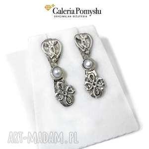 kolczyki z perłami, perły, srebro, 925, sztyfty