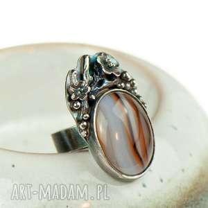 pierścionek srebrny z agatem a716, pierścionek, kamień agat, elegancki