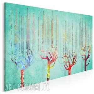 obraz na płótnie - cztery drzewa kolory turkus 120x80 cm (48701)