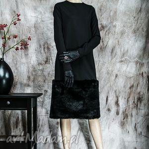 zimowa sukienka z futrem, sukienka, zima, futro, rustic