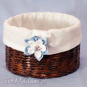 koszyk z kwiatuszkiem - białe pudełka, przechowywanie, pudełko