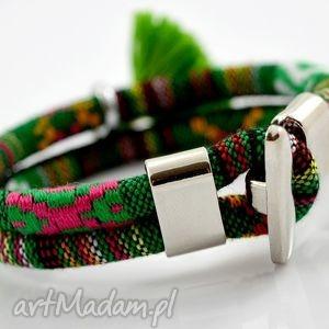 bransoletka boho joyee azteq green, bransoletka, materiał, wzorzysta, chwost, aztecka